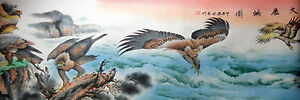 """large""""90wx26h""""large chinese famous Watercolor painting-many eagle,landscape"""