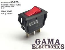 Single Pole Red Illuminated Off-On Rocker Switch 15A@125V 7.5A@250V - 43G-RED