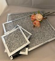 Crushed Diamond Crystal Mirrored Glass Choice Of Placemats Or Matching Coasters