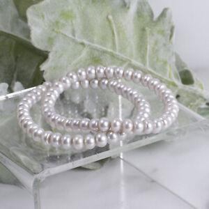 "Fine Genuine Pearl Light Gray Stretch Set of 2 6 1/2"" Bracelets"