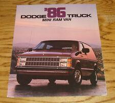 Original 1986 Dodge Mini Ram Van Deluxe Foldout Sales Brochure 86