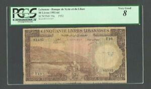 LEBANON Banknote P59a , 1952 , 50 Livres PCGS 8