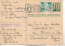 Suiza Entero Postal circulado Zúrich Bonn año 1951 (DE-755)