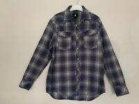 Mens G Star Raw 3301 Shirt Slim Fit Size Large Navy Blue Check Cotton PTP 23""
