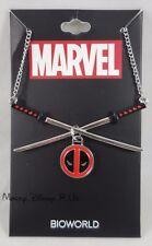 New Marvel Deadpool Logo Charm Crossed Katana Pendant Necklace
