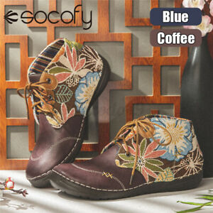 SOCOFY Womens Ladies Ethnic Style Flat Boots Lace Up Casual Shoes Hand Stitchin