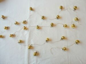 Vintage Christmas Garland Glass Ornaments 9 ft. 24 Small Gold Ornaments