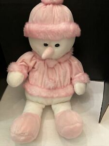 """DanDee 28"""" Plush Stuffed Snowman Soft Expressions Pink Hat and top robe"""