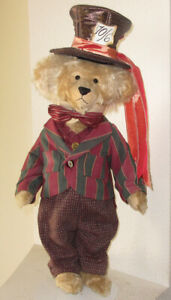 Vintage Mohair Bear - The Mad Hatter from Alice In Wonderland- Signed By Artist