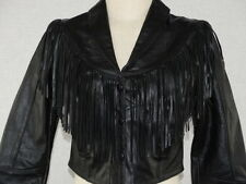 WOMENS MOTORCYCLE BLACK GENUINE LEATHER JACKET FRINGED - RENE'S MADE IN MEXICO