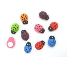 "Lot of 10 Small ASST LADYBUG Stick-on Wooden Button 3/8"" Scrapbook Craft (1020)"