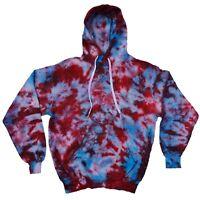 Red, Purple & Blue TIE DYE HOODIE Tye Die T Shirt Festival Grunge Rainbow Tee