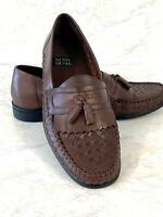 Nunn Bush Men's Shoes Sz 9M Loafers Leather Upper Woven Brown Tassel Brazil