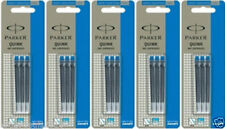 15 x Parker Quink BLUE Ink Cartridge for Ink / Fountain Pen, Made in France, New