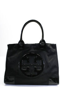 Tory Burch Womens Patent Leather Trimmed Nylon Tote Bag Black Large Handbag