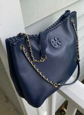 NEW Tory Burch Marion Chain Strap Slouchy Navy Leather Tote Handbag-$495