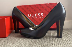Guess By Marciano Dark Brown Leather Block Heels Size 7
