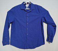 CACTUS MAN Cotton Blend Shirt Slim Fit Long Sleeves Button Blue XL Extra Large