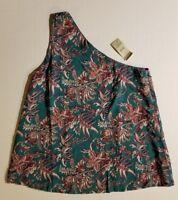 Ann Taylor Loft Teal Green Floral One Shoulder Top Shirt Viscoca XXSP XS or SP