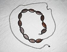 VINTAGE BELT NECKLACE SILVER METAL CHAIN BROWN WOODEN BEADS HIPPY GOTH CHIC