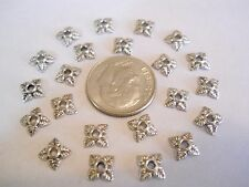 150 BRIGHT SILVER PLATED 6X6X2mm TIBETAN STYLE FLOWER BEAD CAPS BRACELET