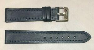 Pulsera Correa de Reloj Piel Legítima Cuero 18 mm Azul Marino   Watchband 240