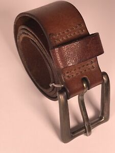 """Abercrombie Est 1892 brown leather belt mens S/M 39"""" long x 1 1/2"""" wide"""