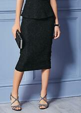 Soft Semi sheen Black Boucle Jersey Pencil Skirt Size 10 NEW