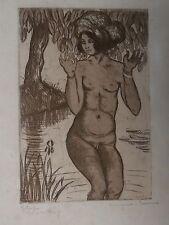 Gravure Pointe sèche GEORGES MANZANA PISSARRO Tahiti Femme Rivière #3