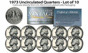 1973 US MINT QUARTERS Uncirculated Coins from U.S. Mint Cello Packs (QTY 10)
