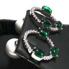 Akoya Pearl Green Emerald Earring Women Wedding Holiday Birthday Jewelry Gift