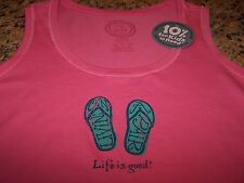 "Life is Good ""LIVIN' ON A PAIR"" Sleeveless Shirt Tank ROSE Women's Med NWT"