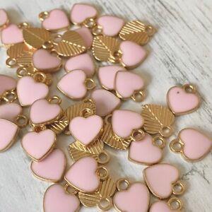 Pink Enamel Valentines Gold Heart Tibetan Charms Charm Jewellery Making Beads