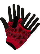 Red Hot Colours Short Fish Net Fingerless Gloves 80's Party Wear Goth
