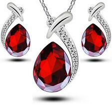 Schmuckset Swarovski® Kristall Rubin Rot Silber Diamant Weiss Halskette Ohrringe