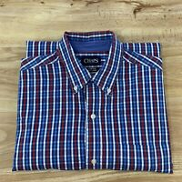 Chaps Stretch Easy Care Men's Long Sleeve  Button Down Red/blue/White Plaid Sz L