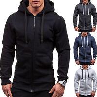 Men Slim Plain Hooded Sweatshirt Zipper Hoodie Sweater Jacket Coat Tops Winter