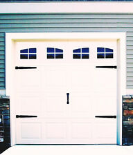 Garage Door Vinyl Decals: Carriage House Style Faux Windows with Hardware #A
