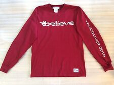 Canada Winter Vancouver Olympics 2010 Believe Long Sleeve T Shirt Red And White