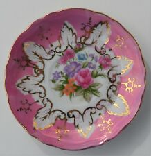 """VINTAGE PINK & GOLD LUSTERWARE CHINA FLORAL SAUCER ONLY MADE IN JAPAN 4 3/8"""""""