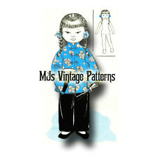 Vintage MISS CHINA Cloth Doll & Outfit Pattern ~ International Doll