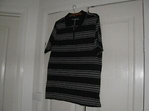 Men's Polo Shirt Design Highlanders Size Small Short Sleeves Black & Grey Stripe