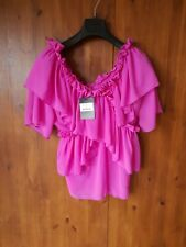 RRP £65 - TWIST & TURN TOP Pink Ruffle Blouse UK 8-10 / 36-38 - NEW