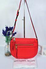 "MICHAEL KORS ""Julia"" Crossbody Messenger Bag Coral Red Leather ~ Dust Bag"