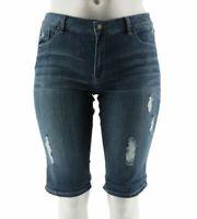 Hot in Hollywood Denim Boyfriend Shorts Bermuda Zip CERULEAN BLUE A290649 Reg 10