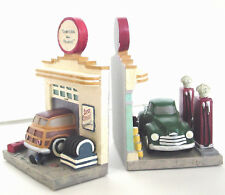 SERVICE STATION BOOKENDS Detailed Gas Pumps Woody Truck HEAVY! Vintage Roadside