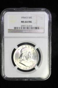 1954 D FRANKLIN SILVER HALF DOLLAR COIN NGC MS64 FBL #13-010