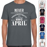 Never Underestimate An Old Man Born In April - Mens T Shirt Birthday Gift Fun