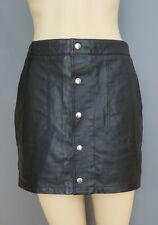 Bagatelle Black Leather Mini Skirt with Pockets and front snap closure Size S