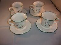 Set of 4 Pfaltzgraff WINTERBERRY Cups and Saucers Christmas